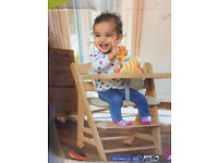 BRAND NEW IN BOX HAUCK BETA PLUS WOODEN HIGHCHAIR IN NEUTRAL WITH SEAT INSERT FROM 6 MONTHS
