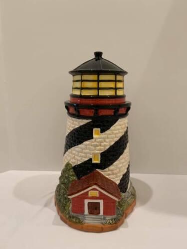 HOMESPUN HOLIDAY COLLECTION LIGHT HOUSE COOKIE JAR