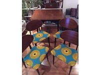 Newly re-upholstered dining table and 4 chairs