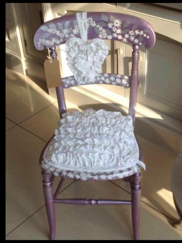 Shabby Chic Lilac Chairin Methley, West YorkshireGumtree - Shabby Chic Lilac Chair with Frilly Top and Love Heart. An antique chair decorated to perfection, a truly unique and one off piece that you will not see anywhere else. Very pretty addition to a Girls bedroom or for that statement piece in your home