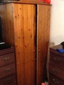 Pine wardrobe 2 sets of drawers