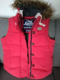 Ladies Superdry Coral Feather Gilet Size XS.