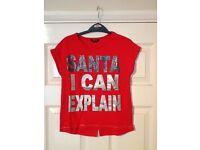 "Girls Christmas T-shirt 9-10 Years ""Santa, I can explain...."""