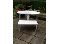 Extending garden table plus side table