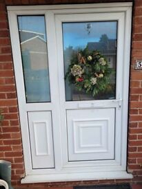 UPVC WHITE FRONT DOOR WITH LEFT HAND PANEL AND LEFT HAND OPENING