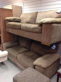 x2 Brown 3 Seater Sofa