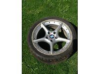 "Genuine BMW Z4 e46 BBS split rim 18"" alloy and good tyre 7mm"