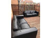 3 seater Black leather sofa Thomson world of furniture X2