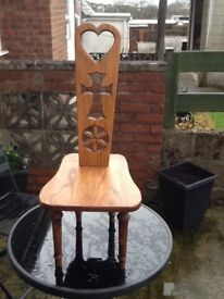 Solid oak small chair