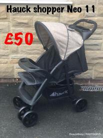 Exdisplay Hauck shopper Neo pram pushchair buggy stroller ideal for holiday black BEIGE lightweight