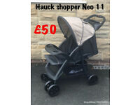 Exdisplay Hauck shopper Neo pram pushchair buggy stroller ideal for holiday black BEIGE lightweight