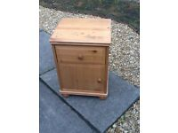 Modern pine solid cabinet, one drawer with cupboard under, on bun feet