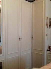 White bedroom furniture wardrobes, drawers and vanity unit
