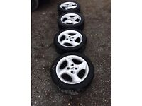FORD MONDEO MK2 ST SET OF 4 ALLOY WHEELS 4 STUD 4 GOOD TYRES