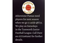 FOOTBALL PLAYERS NEEDED UNDER 13