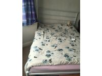 2 years old metal double bed with mattress, excellent condition!