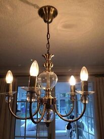 Laura Ashley brass and glass light fitting- immaculate condition