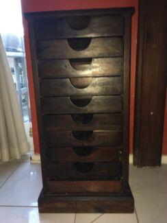 Vintage TAA Industrial 10 Drawer Wood Block Printers Cabinet