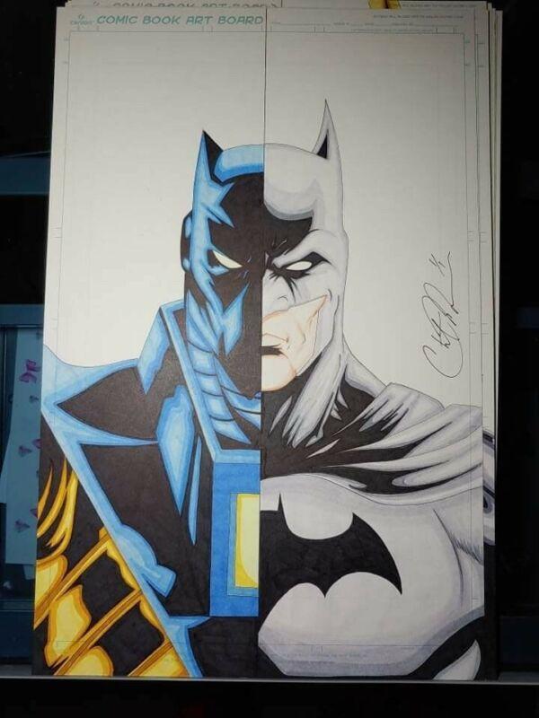 Batman and Knightfall Batman 11x17 original art by Chris Moore