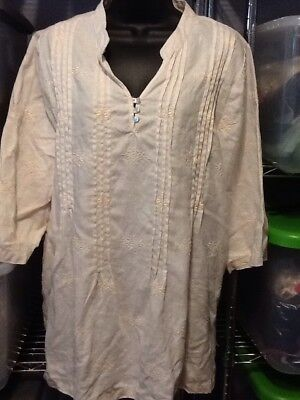 SYMPLE NYC XL XXL Embroidered Linen Pin Tuck Bib Tunic Top H01