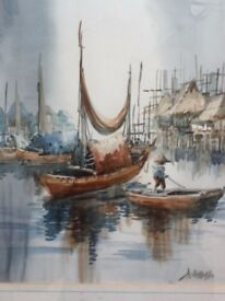 Chinese Junk Painting, gold effect frame, signed. One of a pair other is a rickshaw street scene