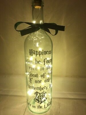 Harry potter Vinyl Decal Wine Bottle Sticker BOTTLE NOT INCLUDED Happiness Quote
