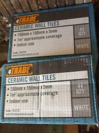 4TRADE White Ceramic Wall Tiles, 2 x 44-pack, brand new in box, 150 x 150mm, coverage 1m² - £3 each