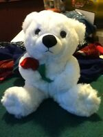 White Teddy Bear holding a Rose