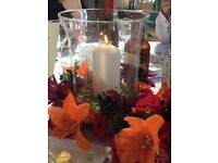 Wedding centrepieces - 8 x Hurricane lamps and 24 x Tea light holders (glass)