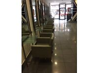 Used 10x salon grey chairs leather gas pumped