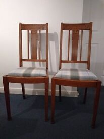 Antique 1920's Arts and Crafts Style Oak Dining Chairs x 4