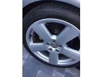 "18"" GENUINE REFURBED AUDI ALLOY WHEELS ON ALMOST NEW CONTINENTAL SPORT CONTACT TIRES"