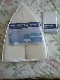 Large V Shaped Pillow and Cover