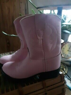 Pink Cowboy Boots Girls Youth Size 9.5 Old West Leather worn 2 days