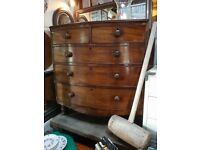 Old Chest Of Drawers, Bow Fronted
