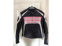 ixon bike / motorcycle leathers ladies, jacket and trousers, size large, good condition, barely worn