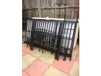 Black metal bunk beds with mattresses (can be 2 single beds)