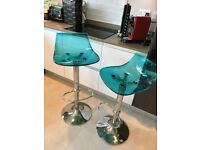 Stylish Italian design John Lewis bar stools, excellent condition, chrome & plastic, 18 months old