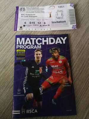 Ticket + Programme : RSC Anderlecht - Zulte Waregem 2018/2019