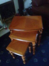 Selling nest of yew wood tables