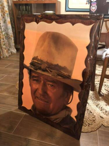 Vintage John Wayne Wood Laquer art 24x32 inches HUGE