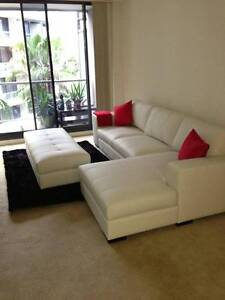 Dare Louisa White Leather Lounge with Ottoman Elderslie Camden Area Preview