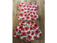 Girls top and shorts set age 3/4 yrs
