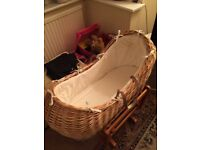 Deluxe gliding moses basket stand and wicker moses basket