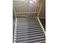 single 3ft white metal bed frame with butterfly's