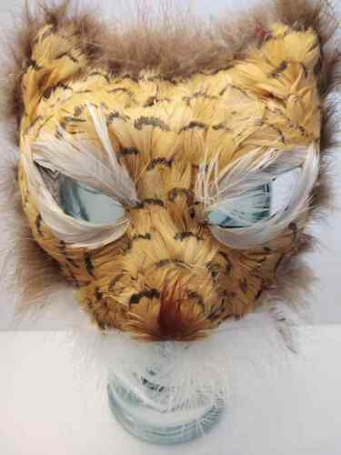 Vintage Tiger Cat Mask White Pheasant Feathers Hand Painted Halloween 1950s