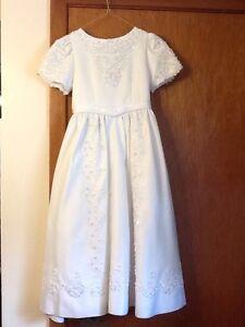 Beautiful Satin Beaded Flower Girl / First Communion Dress