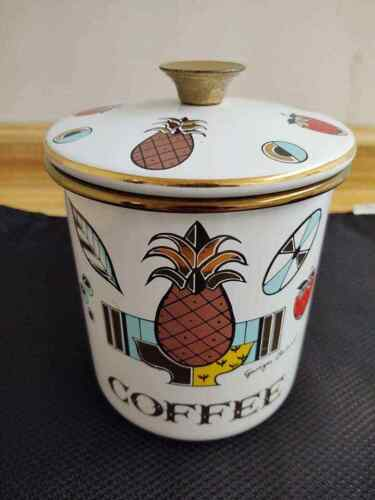 MCM Georges Briard enamel graphics coffee canister