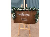 Wedding decor welcome sign