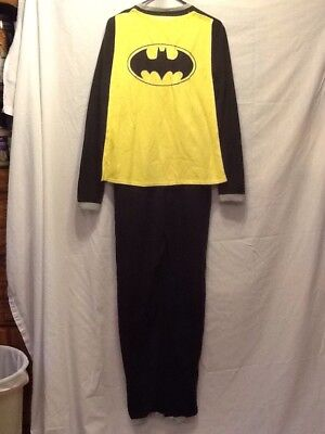 HALLOWEEN BATMAN FLEECE COSTUME PAJAMAS ONE PIECE PJ'S WITH CAPE ADULT MEDIUM